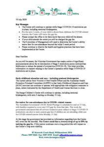 TRCC letter for families - TRCC letter for families